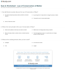 quiz u0026 worksheet law of conservation of matter study com