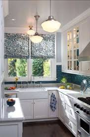 small kitchen design layout with floral roman shades and vintage