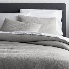 Organic Cotton Pintuck Duvet Cover Shams Lindstrom Grey Fullqueen Duvet Cover Crate And Barrel Intended For
