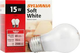 sylvania 15 watt incandescent light bulb soft white 2 pack