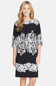 adrianna papell placed print sheath dress in black lyst