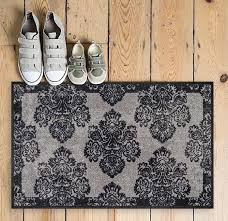 Damask Kitchen Rug Athena Damask Floral Grey Vintage Trellis Mat Non Slip Machine