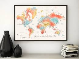 Printable World Map Custom Quote Colorful Watercolor Printable World Map With Cities