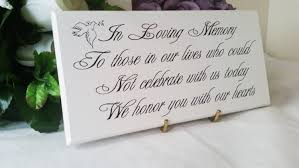 wedding memorial sign wedding remembrance poems