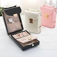 travel box images Creative pu jewelry packaging box travel box stud earrings rings jpg