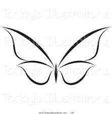 clipart of a black and white flying butterfly logo with wings
