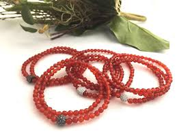 red stone bracelet images Red faceted 4mm agate stone bracelet triple wrap red stone jpg