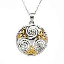 sterling gold necklace images Large celtic triskele pendant in sterling silver with gold plated jpg