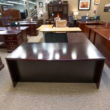 Mahogany Office Desk Used Left L Shaped Executive Office Desk Mahogany Del1531 007