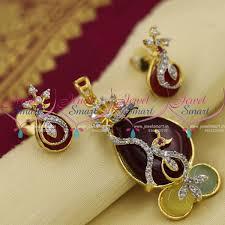 coloured stone necklace images Ps9021 marron yellow blue colour stone cz peacock design pendant JPG