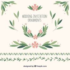 wedding ornaments of leaves and flowers free vectors ui