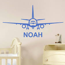 aeroplane personalised name wall sticker by nutmeg aeroplane personalised name wall sticker
