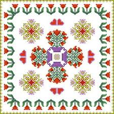 square tulip design cross stitch pattern flowers
