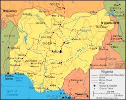 nigeria physical map nigeria map and satellite image