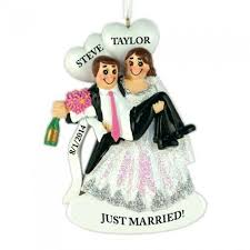 happy hour wedding couple personalized christmas ornament