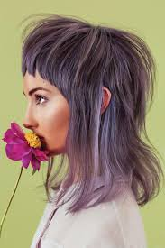 shag haircut brown hair with lavender grey streaks lavender grey modern mullet hair color client inspiration