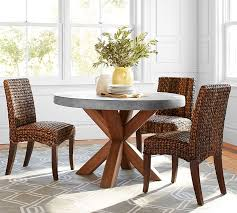 Dining Room Sets With Fabric Chairs by Abbott Round Dining Table Pottery Barn