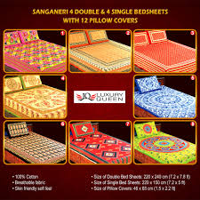 Buy Bed Sheets by Buy Sanganeri 4 Double U0026 4 Single Bedsheets With 12 Pillow Covers