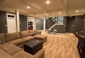 mesmerizing basement family room ideas letter u brown sofa dark