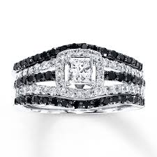 black wedding sets jared diamond bridal set 1 1 4 ct tw black white 14k white gold