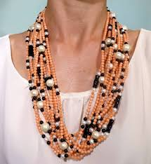 strand necklace images Jona coral pearl onyx multi strand necklace for sale at 1stdibs jpeg