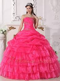 quinceanera pink dresses hot pink gown strapless floor length organza appliques