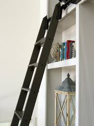 decor white simple metal and wood bookcase with black ladder