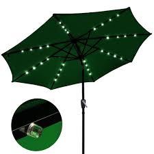 Patio Umbrella Solar Lights by Amazon Com 9 U0027 Outdoor Patio Aluminium Umbrella 32 Solar Powered