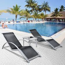Outdoor Chaise Lounge Chair Black Ikayaa Fashion 3pcs Patio Chaise Lounge Chair Set Lovdock Com