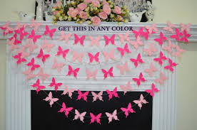 Pink Butterfly Baby Shower Decorations Butterfly Garland Pink