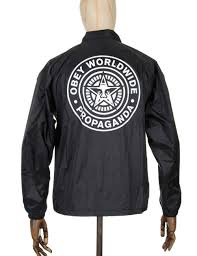 obey clothing obey clothing worldwide seal coach jacket black obey clothing