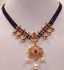 gold black bead necklace images Black beads short necklace mangalsutra pinterest jpg