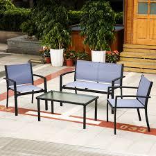 Textilene Patio Furniture by Ikayaa 4pcs Patio Garden Furniture Set Porch Sofa Chairs Table
