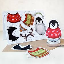 dress up a penguin christmas card by clara and macy