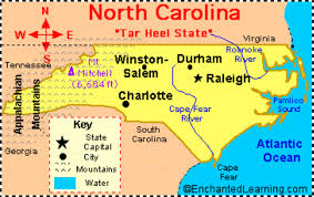 North Carolina Map With Cities California Map For Kids California Map Us Geography