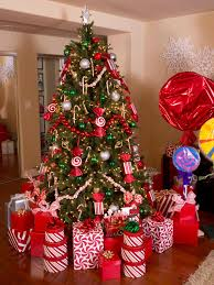 christmas tree theme show me decorating ornaments red green gold