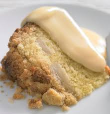 apple pear crumble cinnamon apple and pear crumble cake with custard vegetarian recipe