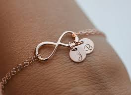 Infinity Bracelet With Initials Personalized Infinity Bracelet Initials Rose Gold Bracelet