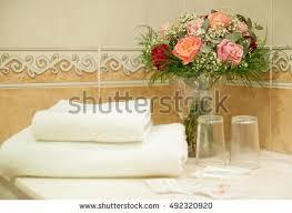 Bathroom Necessities Basket Towels On Window Sill Over Stock Photo 473239918 Shutterstock