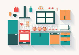 cuisine clipart kitchen with fridge stove dishwasher and fittings shadows