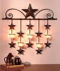 metal star wall sconce glass cup tealight candle holder decorative