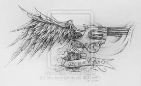 angel wings with guns tattoo design photos pictures and