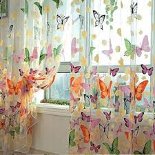 Butterfly Lace Curtains Butterfly Printed Sheer Window Curtains Tulle Door Window Screen