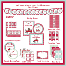 little red wagon sock monkey vintage toy baby shower printable