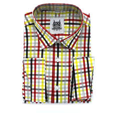 verse 9 red yellow black gray white check spread collar french