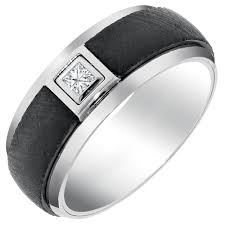 manly wedding bands mens comfort fit wedding band with diamond in white and black