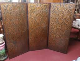 antique embossed spanish leather tri fold screen 3 panel room