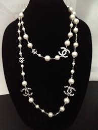 fashion jewelry pearl necklace images Vintage designer chanel inspired silver cc long white pearl jpg