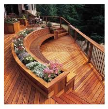 Deck Planters And Benches - wooden curved deck design built in planters bring bursts of