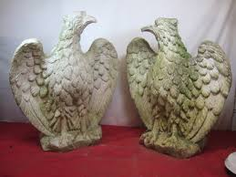 pair of 1920 s reconstituted spread eagle gate garden post